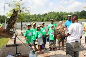 Two very special guests attended the OAK youth event, Mr. Hoots and Skye! A Eurasian eagle-owl and a red-tailed hawk brought by Earth Conservation Corps, a local group dedicated to protecting the Anacostia and the habitat it provides for beautiful animals like these.