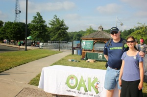OAK Chair and Vice Chair, Jackie Ostfeld and Paul Sanford preparing for the arrival of the first 400 plus kids and youth