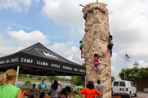 REI brought along a 26 foot mobile rock climbing wall for youth to show off their skills
