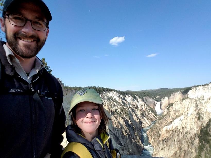 Sam and Noam near Yellowstone Falls in Yellowstone National Park.